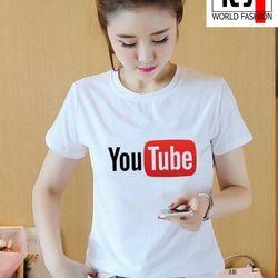 Áo thun nữ in hình YouTube form rộng hàn quốc vải dày mịn - ATN01 giá sỉ