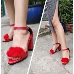 Giày sandal cao gót phối lông 319ST07 giá sỉ