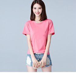 Áo thun phông nữ trơn vải dày mềm mịn thoáng mát Form Rộng Hàn Quốc Hồng - ATN05 giá sỉ