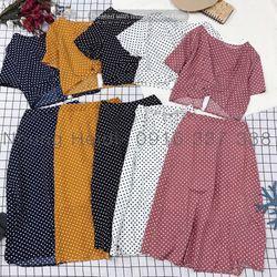 Set áo váy Chất lụa đẹp nạ Váy lưng thun free size có lót kèm áo xoắn eo xinh hết nấc giá sỉ