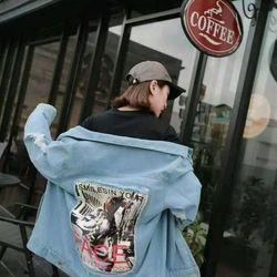 Áo khoác jean unisex in đắp giá sỉ
