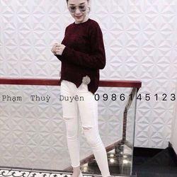 Áo len xẻ tà đính bông Quảng Châu giá sỉ