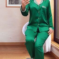 Đồ bộ piyama lụa phối màu quần dài tay dài giá sỉ