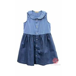 Đầm sát nách kiểu sơ mi phối màu xanh jean nhạt đậm cho bé gái HIKARI-71 giá sỉ
