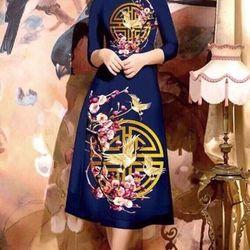 set áo dài in họa tiết kèm váy giá sỉ
