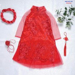 Áo dài cách tân Lụa thêu hoa quần mấn cho bé gái từ 8 đến 30 kg giá sỉ