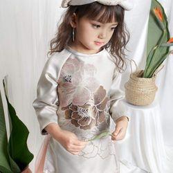 Áo dài gấm in hoa Quần lụa Mẫn cho bé từ 8 đến 30kg giá sỉ