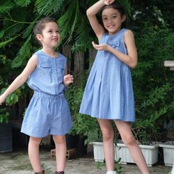 Jum sọt sát nách xanh Jean chấm bi nhỏ cho bé gái Hikari-41