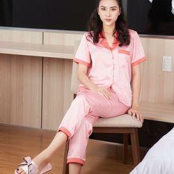 Đồ bộ pijama lụa satin quần dài tay ngắn phối màu giá sỉ