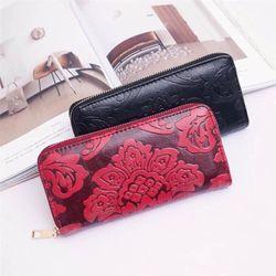 ví da dài in nổi hoa xinh giá sỉ