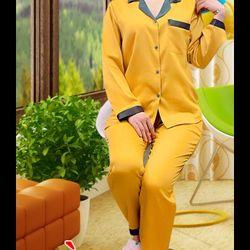 Đồ bộ piyama phi lụa quần dài tay dài phối cổ giá sỉ