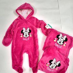 Bộ Body Suit Hồng Đậm cho Bé từ 0 - 9 tháng tuổi - Hàng Mỹ Disney Baby giá sỉ