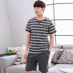 Bộ đồ nam quần trơn áo sọc kiểu dáng Hàn Quốc 225 giá sỉ