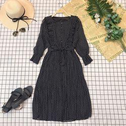 Đầm dập li nút viền bèo xếp li giá sỉ, giá bán buôn