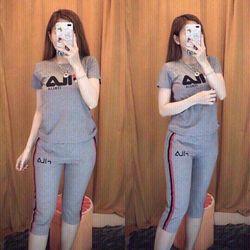 Bộ quần lững thể thao thun cô tôn lô gô theu soc 10 giá sỉ