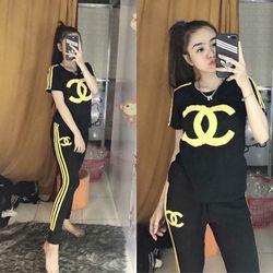 đồ bộ quần dài thể thao thun cô tôn lô gô in soc 4 giá sỉ, giá bán buôn