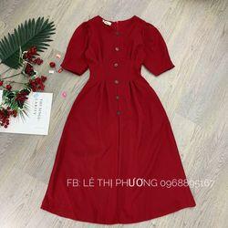 đầm đỏ nút gỗ giá sỉ