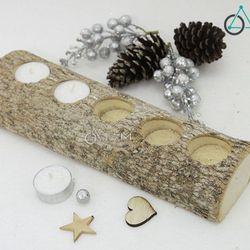 Chân nến gỗ thân cây tự nhiên số 15