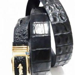 Thắt lưng cá sấu màu đen da liền giá sỉ, giá bán buôn