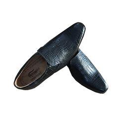 Giày Nam da cá sấu màu đen