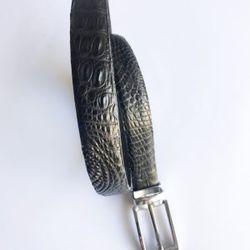 Thắt lưng cá sấu nữ dây liền màu đen