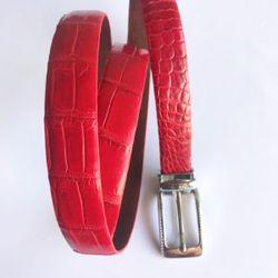Thắt lưng cá sấu nữ màu đỏ