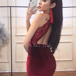 Đầm body cổ đổ phối ren giá sỉ