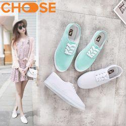 Giày Bata Vải Nữ Đẹp Màu Trắng Đỏ Xanh Pastel Thể Thao Dây Cột Phong Cách Nặng Động Trẻ Trung 2101 giá sỉ