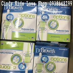 Set 3 Bình Sữa Dr Brown cổ hẹp 120ml giá sỉ