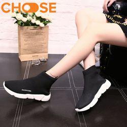 Giày Nữ Sneaker Cổ Cao Chất Liệu Co Dãn Kiểu Dáng Thời Trang 1302 giá sỉ