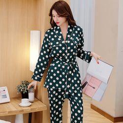 Đồ bộ mặc nhà - pyjama tay dài quần dài Quảng Châu chấm bi giá sỉ, giá bán buôn