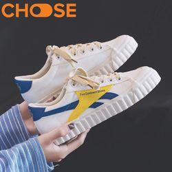 Giày BT21 BTS Nữ Thể Thao/Sneaker Giày Lười Trắng Đế Đúc Trang Trí Vàng Xanh Biển 2401 giá sỉ