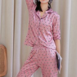 Pyjama - đồ bộ mặc nhà Quảng Châu tay dài quần dài các màu xanh hồng giá sỉ