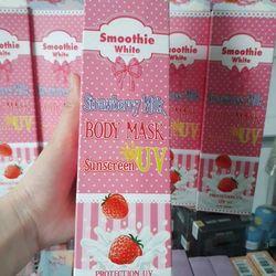 Kem dưỡng trắng da mờ sẹo thâm Smoothie white Strawberry Milk body mask Sunscreen Thái lan giá sỉ