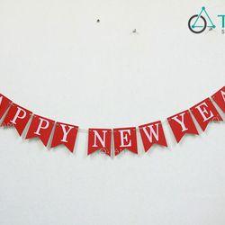 Dây treo chữ Happy New Year bằng gỗ số 08