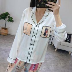 Đồ bộ pyjama Quảng Châu tay dài quần dài các màu trắng đen giá sỉ, giá bán buôn