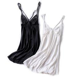 Váy ngủ sexy chéo ngực chất mềm mịn các màu trắng đen giá sỉ