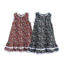 Đầm suông hoa nhí 3 màu phối viền ren cho bé gái Hikari-5 xinh xắn dễ thương giá sỉ