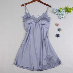 Đầm - Váy ngủ lụa phối ren Quảng Châu các màu hồng xám xanh đen giá sỉ