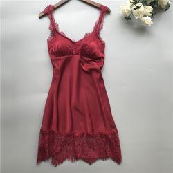 Đầm váy ngủ lụa phối ren sexy Quảng Châu form ôm dáng các màu hồng xanh đỏ đen giá sỉ