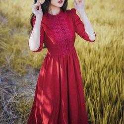 Đầm maxi đỏ phối ren cực xinh giá sỉ