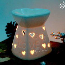 Đèn xông tinh dầu bằng nến gốm trắng hình tim số 25 cao 10cm
