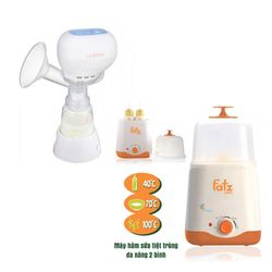 Bộ máy hút sữa điện đôi không BPA Unimom Minuet và máy tiệt trùng 2 bình cổ rộng Fatz FB3011SL giá sỉ