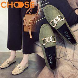 Giày Lười Nữ/Slip-on Đế Bằng OXFORD Da Lộn Khuy Kim Loại Mẫu HOT 1201 giá sỉ