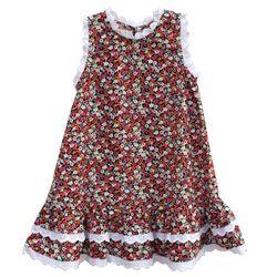 Đầm suông họa tiết bông hoa nhỏ phối viền ren cho bé gái HIKARI-8