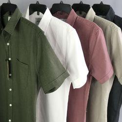 Sơ mi bán tết vải Linen dư xịn ngắn tay nhiều màu giá sỉ