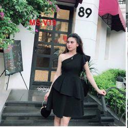 -Đầm xòe 2 tầng khuyết vai-chất liệu voan giá sỉ, giá bán buôn
