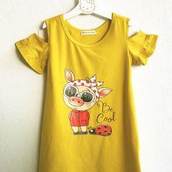 Đầm thun vàng rớt vai in hình bé heo đội nơ cho bé gái HIKARI-23