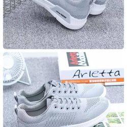 Giày sneaker nữ xám ghi phong cách thể thao
