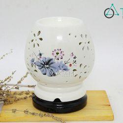Đèn xông tinh dầu điện Mai cao in hoa xanh số 09